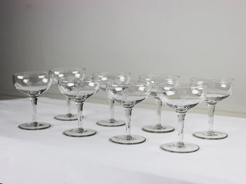 A set of 8 French etched Deco Champagne coupes