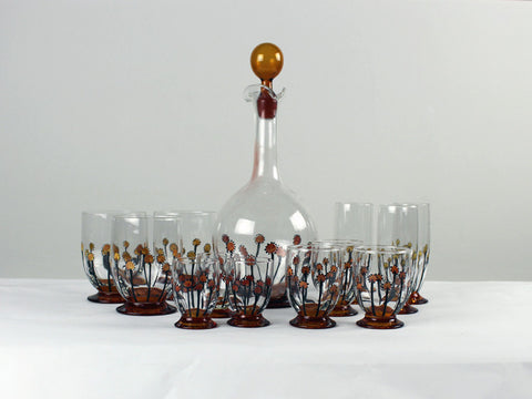 A set of hand painted 1960's glasses and decanter