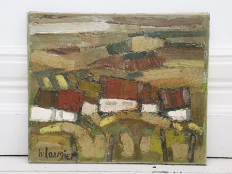 1950's French Oil on Canvas House in Fields Scene in Green Tones