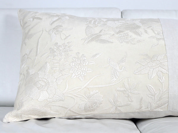 Chinese silk embroidered panel on linen bolster Charlotte Casadéjus