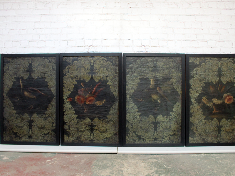 A Set of Four 17th Century Spanish Oil on Hessian Wall Covering Paintings