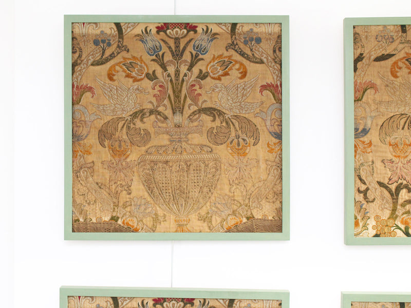 A Set of Four Early 19th C French Woven Silk Panels