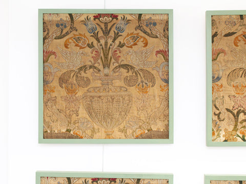 A Set of Four Late 17th C Italian Woven Silk Panels