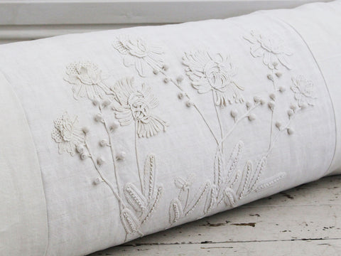 50cm Square Cushion - Chinese silk embroidered panel on linen by Charlotte Casadéjus