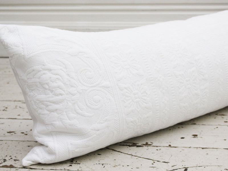 Large Bolster Cushion - Antique French Piqué PB342