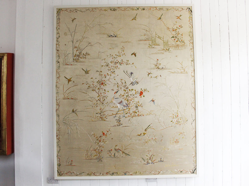 A Exceptionally Large Late 19th C Framed Cantonese Silk Embroidery