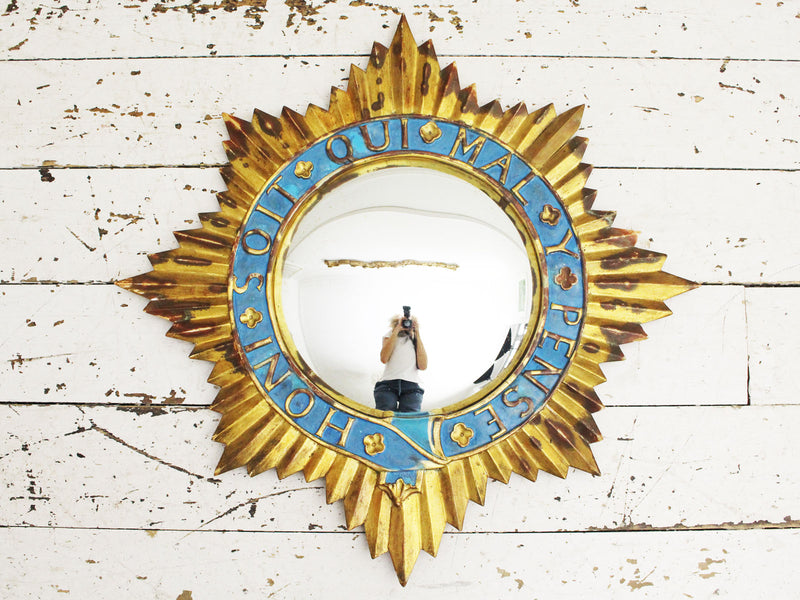An Usual Early 20th C Carved Gilt Wood Sunburst Convex Mirror
