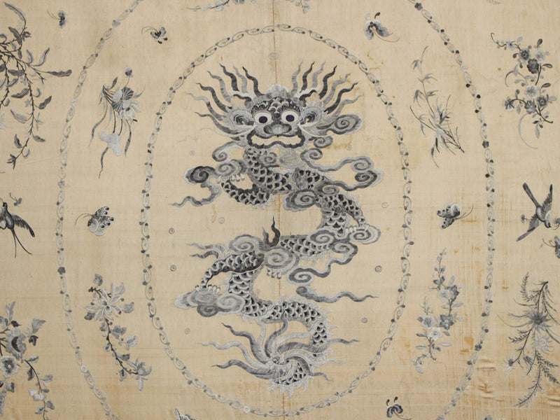 An Early 20th C Framed Tibetan Blue Grey Dragon Silk Embroidery