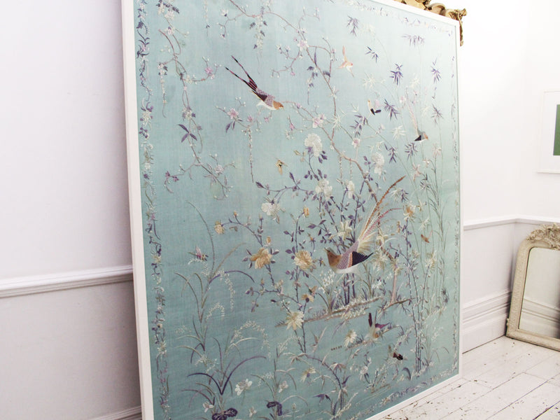 A Very Large Antique Chinese Embroidery On Pale Blue Silk