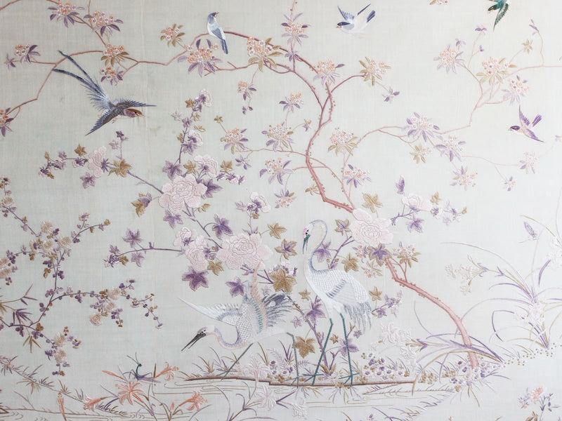 An Exceptionally Large Antique Framed Hand Embroidery Chinese Silk