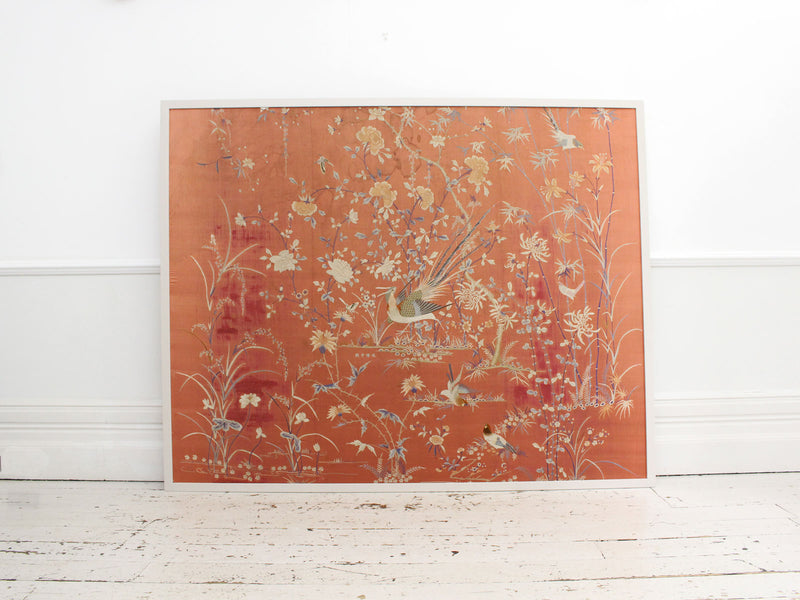 An Antique Framed Chinese Embroidery on Pink Silk