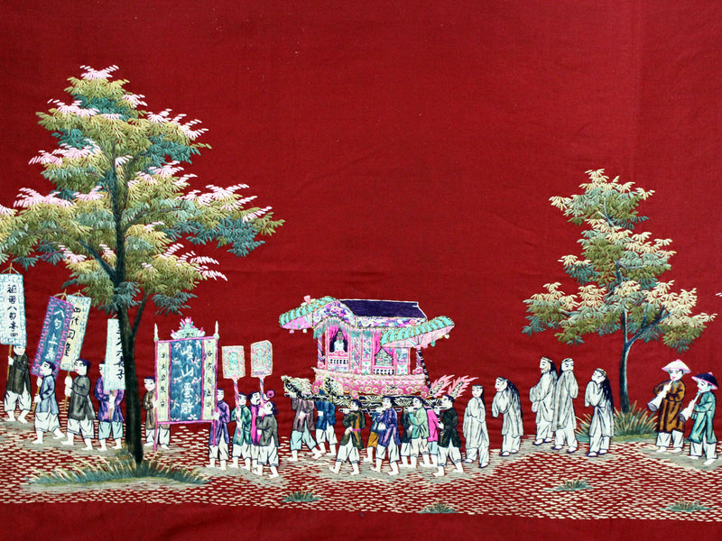 An Antique Framed Chinese Embroidery Panel of a Ceremonial Procession on Burgundy Silk