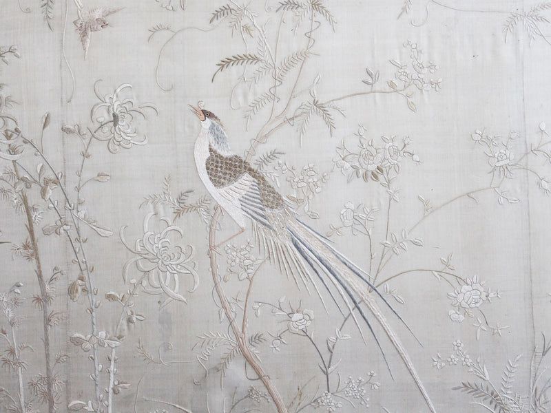 An Early 20th C Framed Chinese Silk Embroidery in Subtle Tones