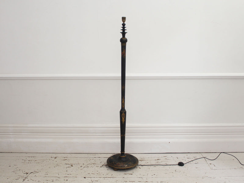 A 1920's Black Lacquered Chinoiserie Floor Light