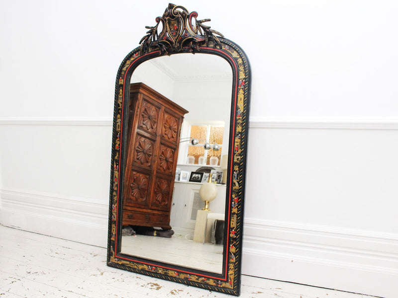 A 19th Century Napoleon III Chinoiserie Lacquered Mirror