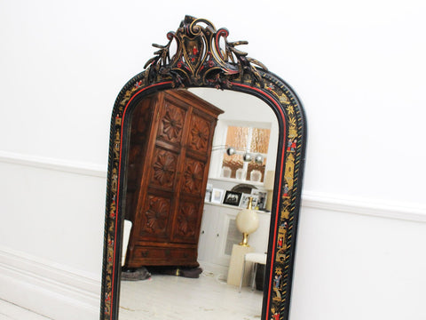 A Large Antique French Art Populaire Mirror with Crystal Decoration