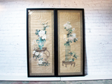 A Large Pair of Decorative Framed Antique Chinoiserie Watercolours on Paper