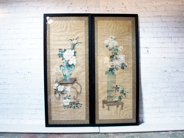 An Impressive Pair of Decorative Framed Antique Chinoiserie Watercolours on Paper