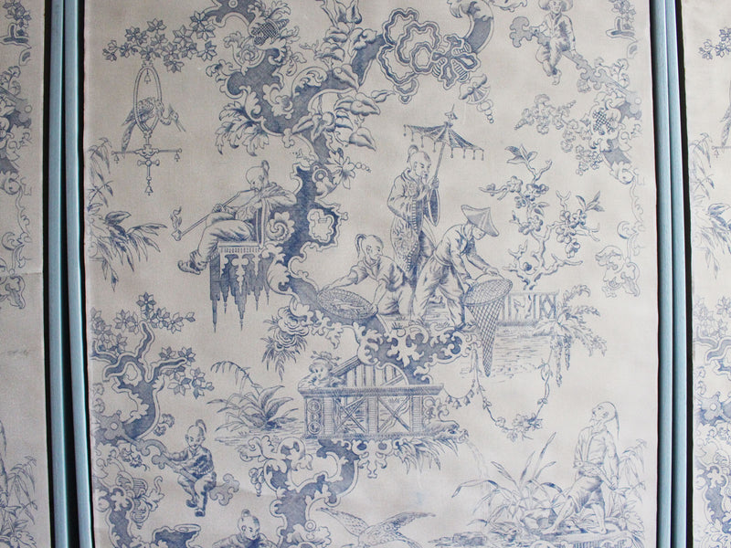 Four 19th C Chinoiserie Blue & White Wall Paper Panels