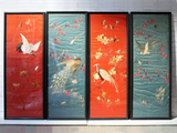 A Four Piece Set of Hand Embroidered Chinoiserie Silk Panels in Red & Blue