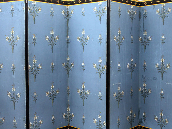 A French Directoire Blue Double Sided 5 Panel Papered Room Screen with Gold Detail