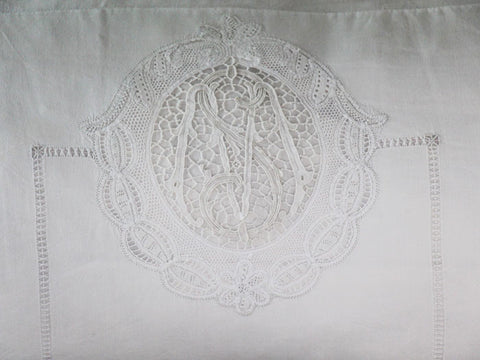 Bolsters - An intricate lace & threadwork monogrammed antique linen bolster by Charlotte Casadéjus