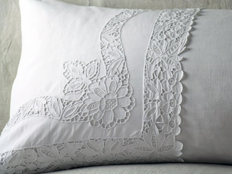 Medium Bolster Monogrammed - Antique French White Embroidered Tulle on Linen by Charlotte Casadéjus