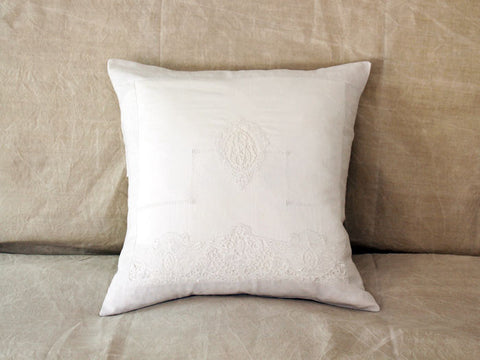 An antique French linen monogrammed 50cm square cushion - initials SM/MS