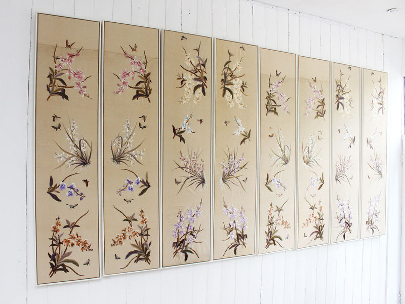 Superb Antique Japanese Hand Embroidered Orchid Flower Panels - 8 available
