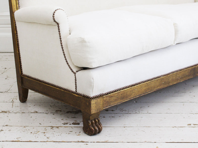 A French Empire Style Late 19th Century Gilt Sofa
