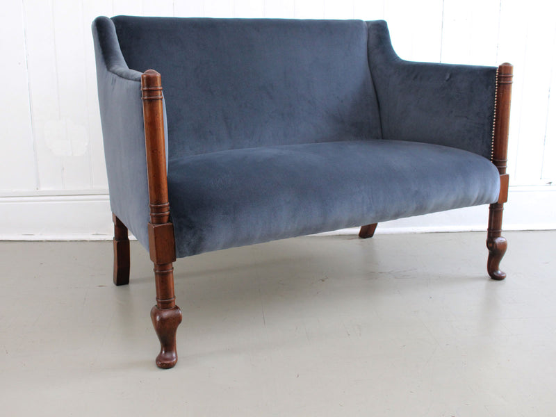 A 1920's Country House Mahogany Sofa with Blue Grey Velvet Upholstery