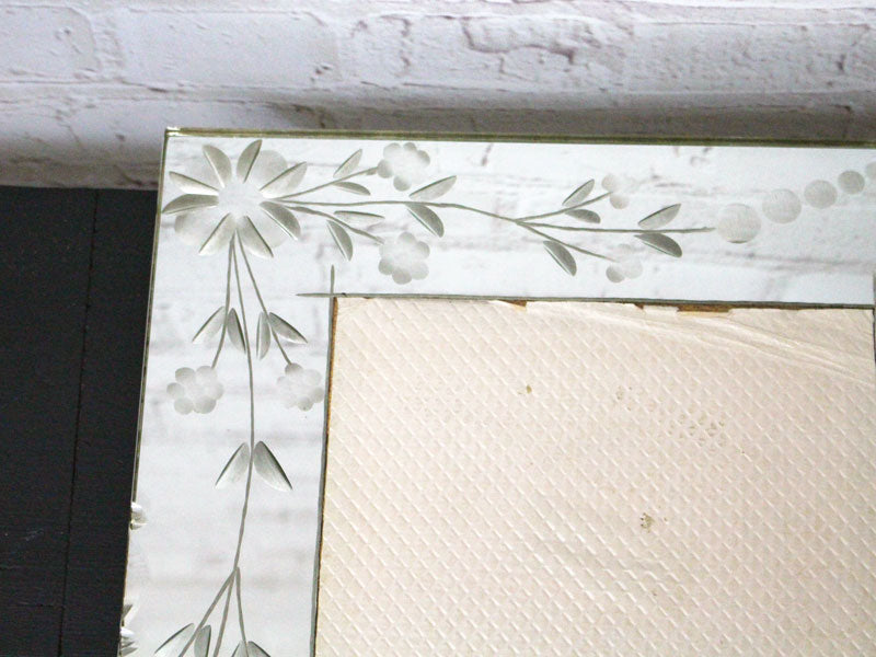 A Large Vintage Etched French Mirrored Picture Frame