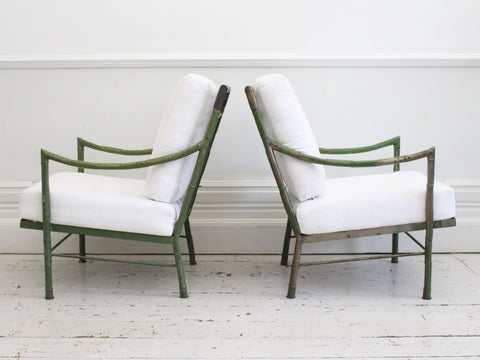A Pair of Mid Century Modern Faux Bamboo Metal & Brass Armchairs by John Wisner