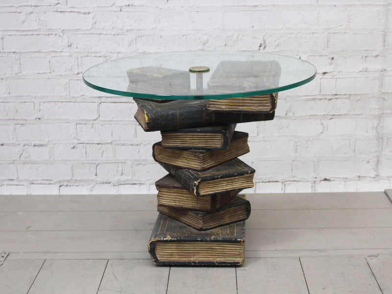 Vintage French Carved Wooden Faux Book Occasional Table with Glass Top