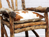 Wonderful 19th C French Tramp Art Bergere's Wooden Armchair with Cowhide Cushion