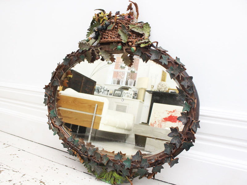 An Early 20th C French Folk Art Leather Mirror with Leaves, Acorns and Basket