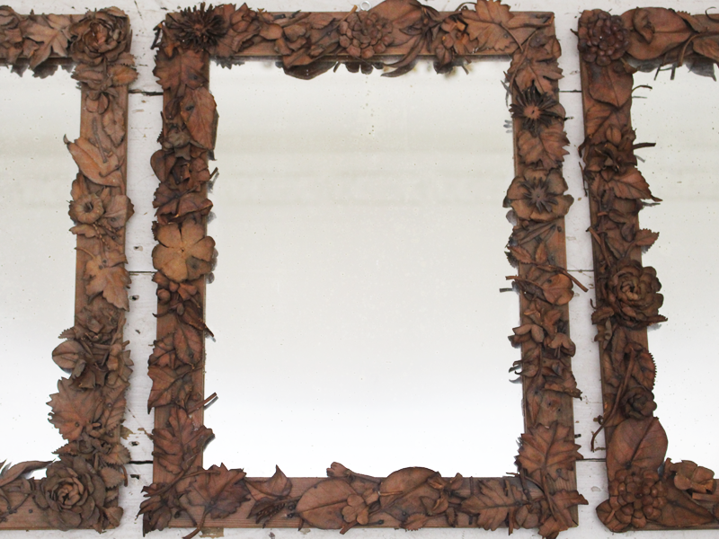 Exceptional Set of Three Antique Folk Art French Mirrors with Leather Floral Surround