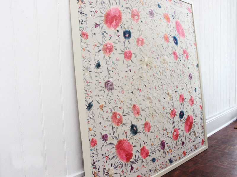 A Vivid 1930's Framed Chinese Silk Piano Shawl Embroidery