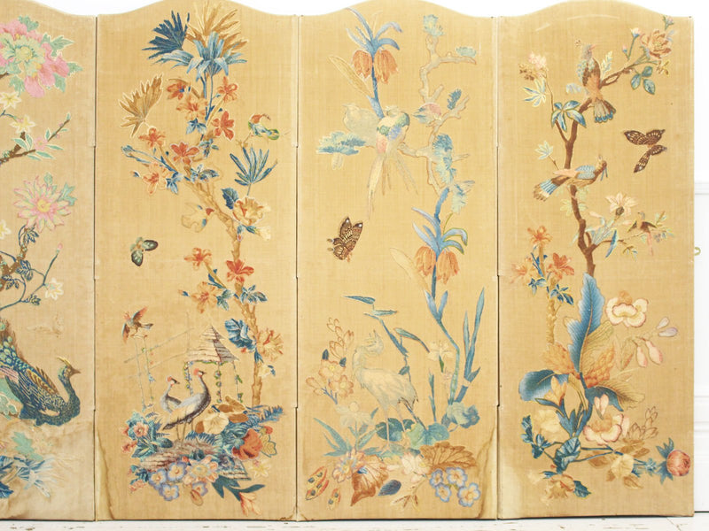 A Late 19th C Hand Embroidered & Appliquéd Screen With Exotic Birds & Flowers