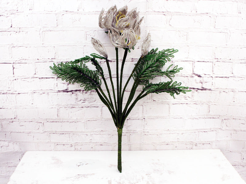 An Early 20th C French Floral Beaded White Lily Bouquet