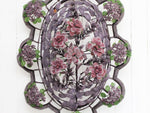 A Very Large Early 20th C Floral & Leaf Aubergine Beaded Wreath (D)