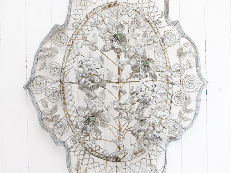 A Very Large Early 20th C Floral & Leaf White Beaded Wreath (A)