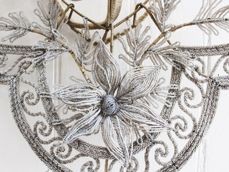 A Very Large Early 20th C Floral & Leaf White Grey Beaded Wreath (B)
