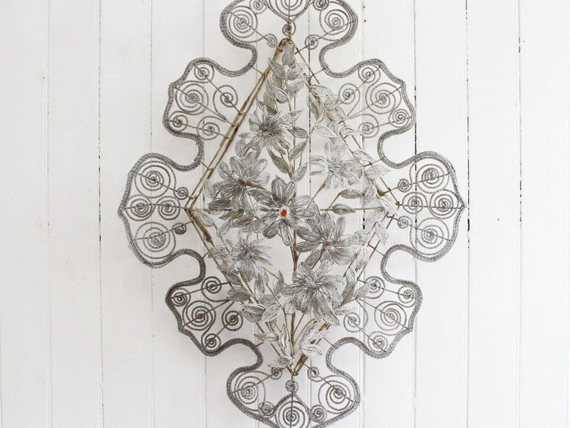 A Very Large Early 20th C Floral & Leaf White Beaded Wreath (E)