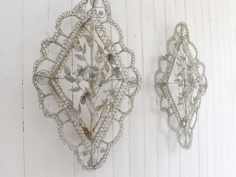 A Pair of Early 20th C Floral & Leaf White Beaded Wreaths (F)