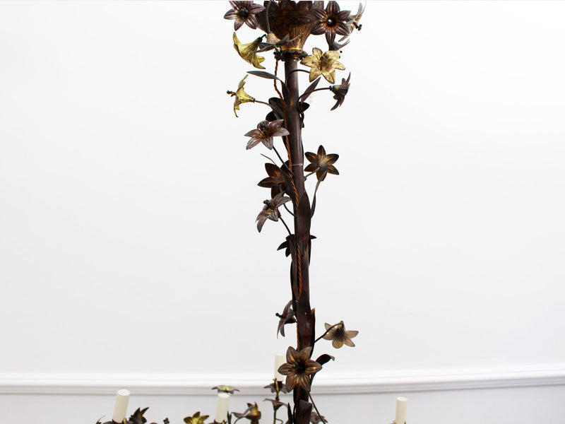 An Imposing French Gilt Flower and Leaf Ornate Metalwork Chandelier