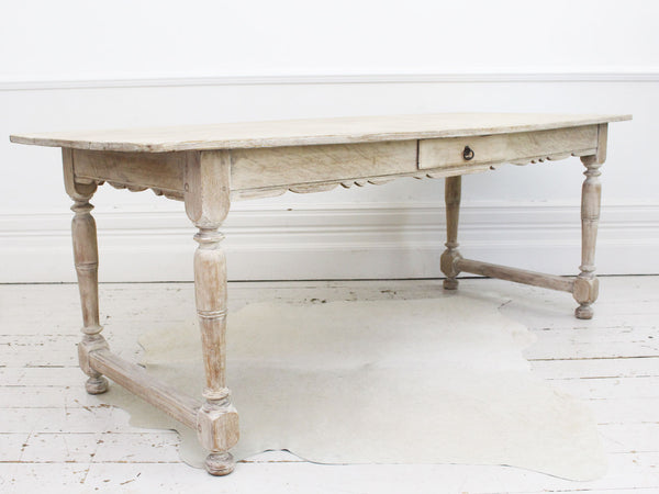 A Late 19th Century French Limed Oak Large Kitchen Dining Table