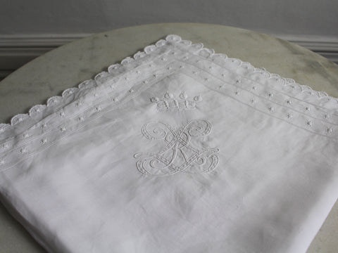 An Antique French Embroidered White Pillowcase with Baron's Crown