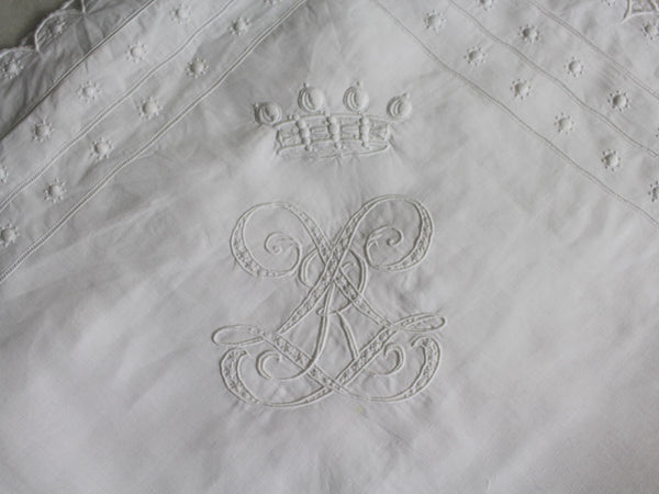 An Antique French Embroidered White Pillowcase with Baron