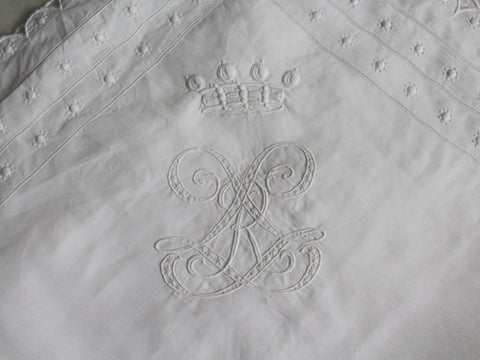 50cm Square Cushion - Antique French White on White Exquisite Embroidery on Linen P271